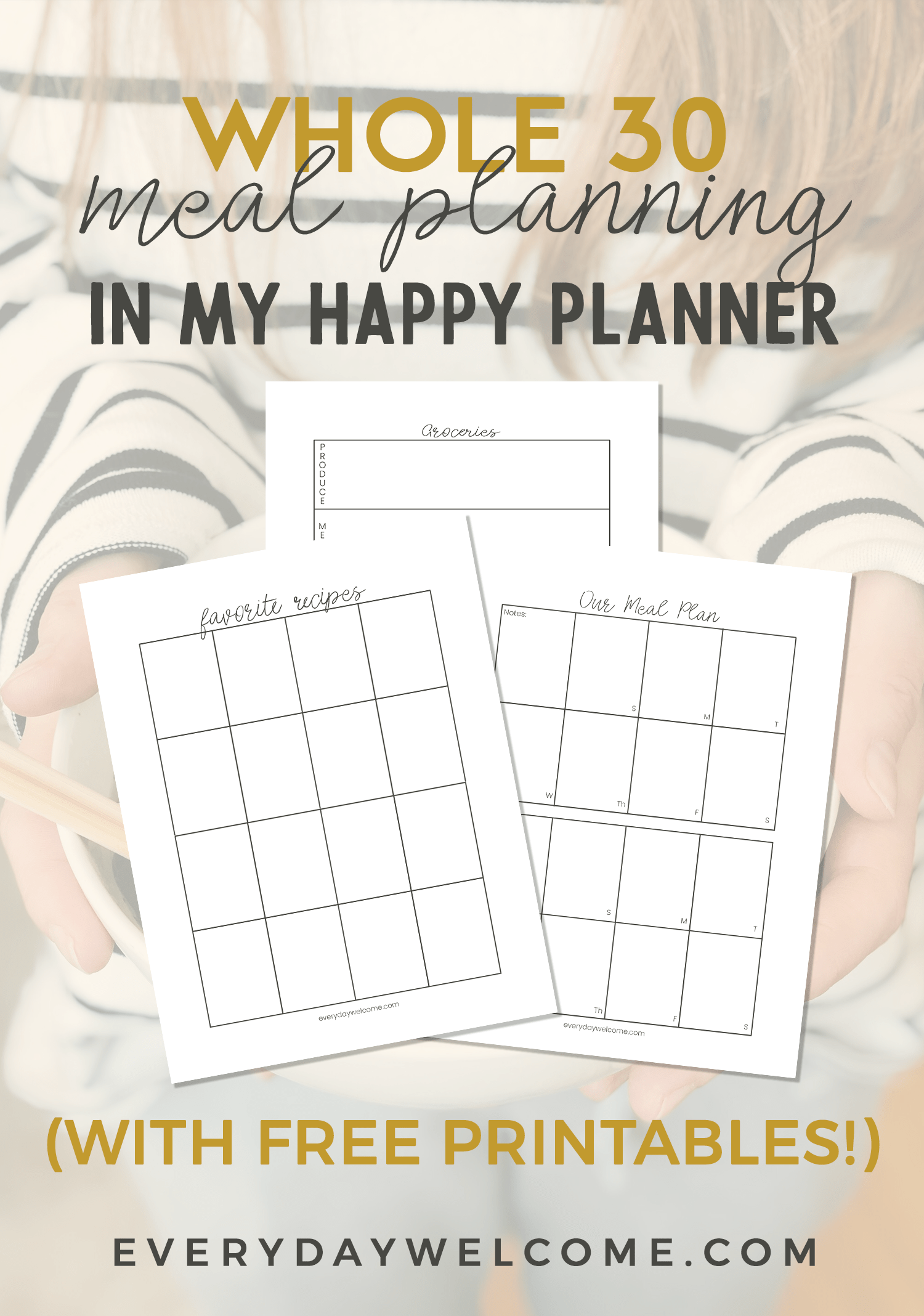 This is an image of Happy Planner Recipe Printable with template